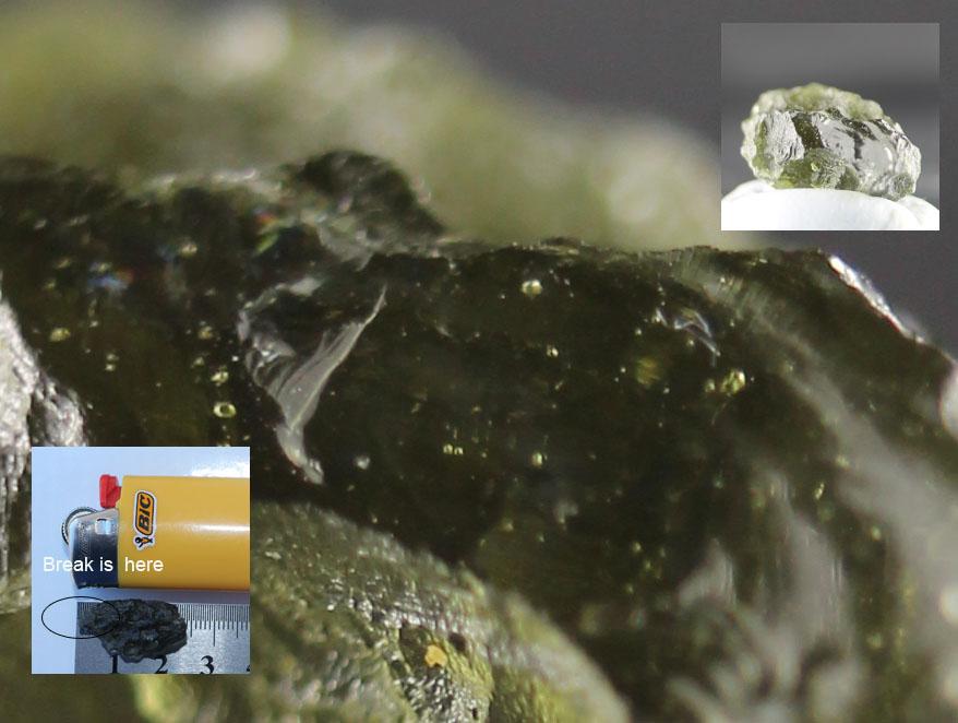 Bubbles inside a moldavite